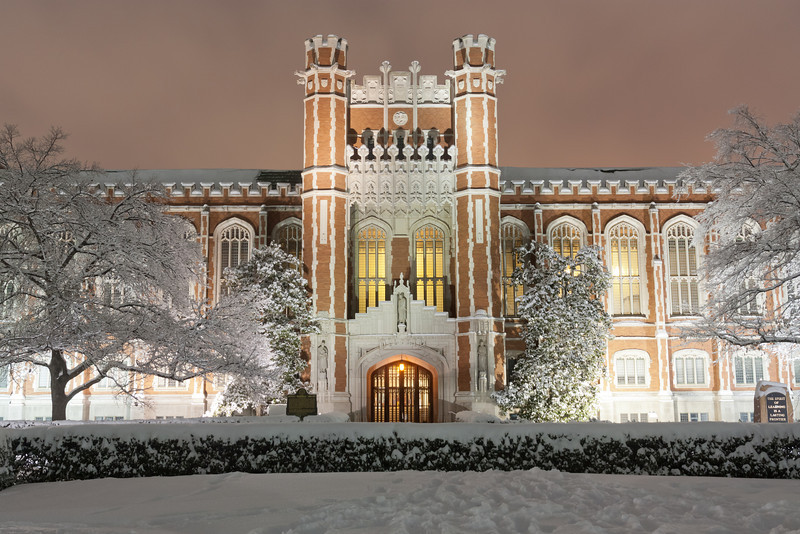 Significant snowfall makes for a beatiful wintry scene at Bizzell Library at the University of Oklahoma. Shot on the night of January 29, 2010.