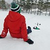 JENN SMITH — THE BEKRSHIRE EAGLE <br /> Cade Morrell, 11, takes a break from Monday's sledding and snowball fights with friends at Taconic Golf Club in Williamstown. Monday, December 2, 2019