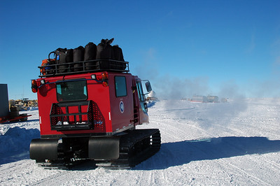 SOUTH POLE, ANTARCTICA: All packed up and heading out, the happy campers are off.