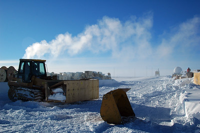 SOUTH POLE, ANTARCTICA; Once we get stuff cleared, the gals can come over in the forklift and get the supplies that are needed for the various construction and other projects going on around the station that depend on all the stuff stacked out here and covered by the winter snow drifts.