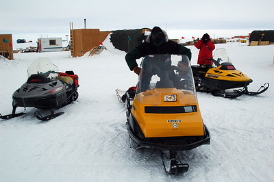 SOUTH POLE STATION, ANTARCTICA: Snowmobiles: check. Gas: check. Antarctic Survival Kit: check. Satellite phone: check. Snowdrift measuring tools: check. Let's Ride!