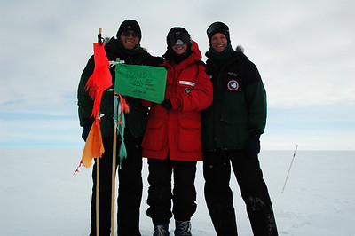 SOUTH POLE STATION, ANTARCTICA: Twenty kilometers out, stake number 40, we take the last measurement and sign the flag.