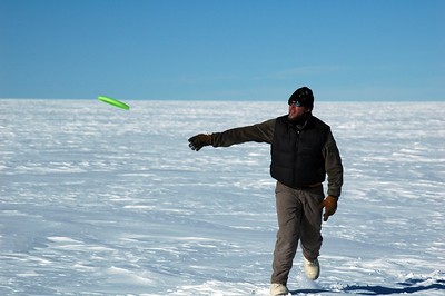 SOUTH POLE, ANTARCTICA: Once we're done putting up tents and building snow walls, it's time to have some fun and we get the Frisbee out.
