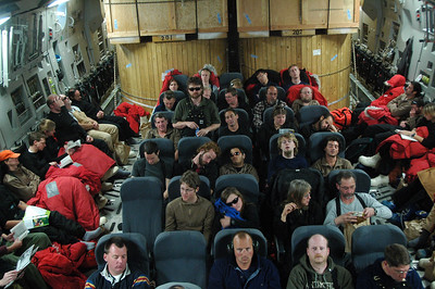 CHRISTCHURCH TO MCMURDO, ANTARCTICA: All packed in with the cargo! These seats had some of the best legroom I've ever had on a flight.