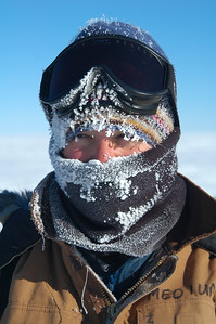 SOUTH POLE STATION, ANTARCTICA: Kari gets pretty frosty on the way from all that heavy breathing.