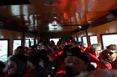 MCMURDO STATION, ANTARCTICA: All packed in Ivan like sardines on our ride from the plane to the station.