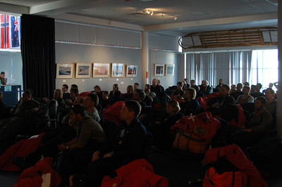 CHRISTCHURCH, NEW ZEALAND: The next morning we're in the Antarctic terminal watching another safety video before we head out to our flight to Antarctica.