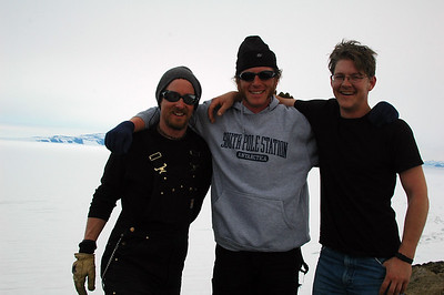 MCMURDO STATION, ANTARCTICA: That afternoon we (Tony, Cameron and Derek) climbed up Observation Hill near McMurdo Station. It was pretty warm by our standards in the costal lowlands of Antarctica.