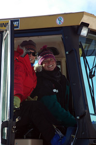 SOUTH POLE, ANTARCTICA; Here's the forklift crew Terry (l.) and Kera