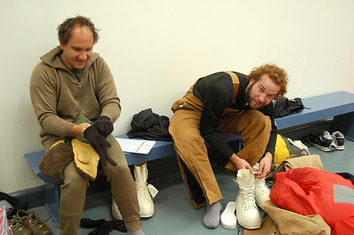 CHRISTCHURCH, NEW ZEALAND: Matt and Arik try on all their ECW clothing.