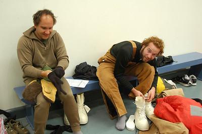 CHRISTCHURCH, NEW ZEALAND: Matt and Arik try on all their ECW clothing.