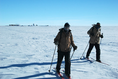 SOUTH POLE STATION, ANTARCTICA: Looking back, the station is starting to get to be pretty small on the horizon nearly three kilometers back.