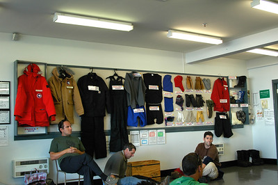 CHRISTCHURCH, NEW ZEALAND: In Christchurch we get briefed on the Extreme Cold Weather (ECW) clothing that will be issued to us while we're in the Antarctic. The options are all on display on this wall. We only get one pair of boots. I chose the blue ones.