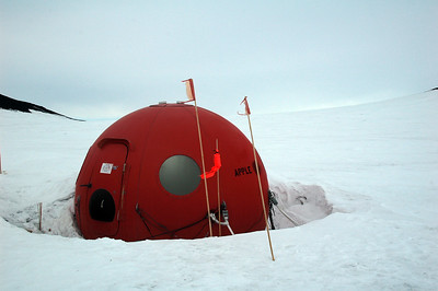 "CASTLE ROCK, ROSS ISLAND, ANTARCTICA: Cleverly named ""Apple"" this little space pod would be a very welcome sight in the midst of an Antarctic storm."