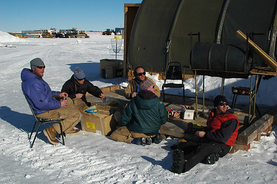 SOUTH POLE STATION, ANTARCTICA: In the end, it's all about kicking back and having some snacks out in the sun. Don't worry, it's a warm day today at -20F out of the wind.