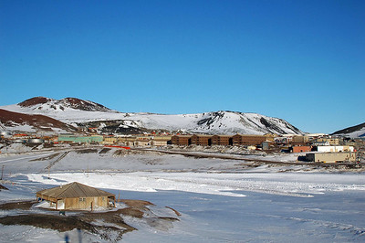 MCMURDO STATION, ANTARCTICA: Looking back at McMurdo station from Hut Point, with the hut of its namesake built by Scott in the early 1900's as a base for British Antarctic expeditions.