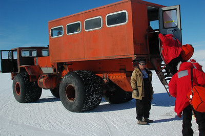 MCMURDO STATION, ANTARCTICA: After our flight from South Pole back to McMurdo, this transport, known as a Delta, was our transport from Williams Air Field on the ice shelf to McMurdo Station