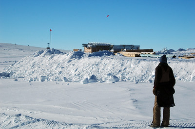 SOUTH POLE STATION, ANTARCTICA: Another shot by Kara, but this one is a long arc going for the goal by the bamboo flag.