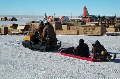 SOUTH POLE STATION, ANTARCTICA: Getting around at the South Pole is often done on the back of a snowmobile on a sled.