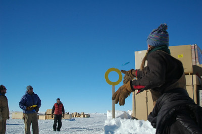 SOUTH POLE STATION, ANTARCTICA: Not all goals are created equal. Kara takes a shot to put her disc through the ring.