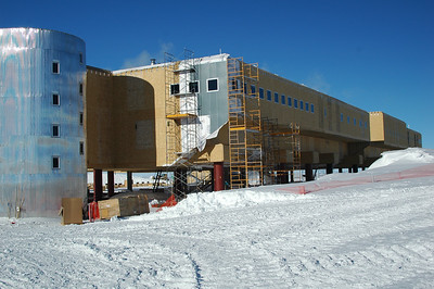 SOUTH POLE STATION, ANTARCTICA: The first pannels of siding going up on the new station. The cafeteria is beind those windows.