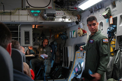 "CHRISTCHURCH, NEW ZEALAND: C-17 Globemaster III Safety Briefing: ""And another exit is here..."""