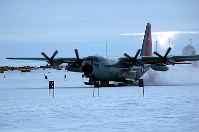 SOUTH POLE STATION, ANTARCTICA: Another Herkey Bird comes and goes with supplies.
