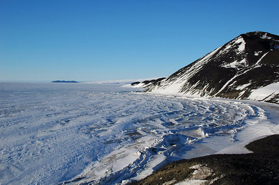 MCMURDO STATION, ANTARCTICA: Along the coast, pressure ridges form as the ice is pushed into the land.