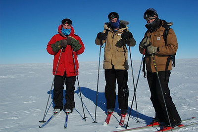 SOUTH POLE STATION, ANTARCTICA: The group stops for a rest (l. to r.) Chris, Mike, Kari.