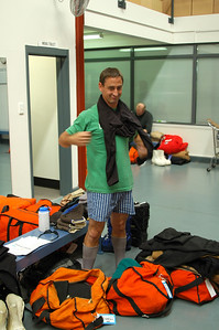 CHRISTCHURCH, NEW ZEALAND: Another Bryan works on a new cold weather look with boxers.