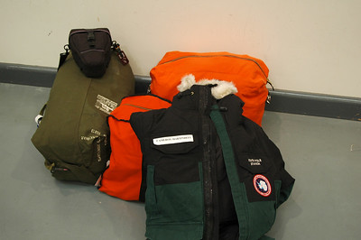 CHRISTCHURCH, NEW ZEALAND: Here's my kit! Three bags a heavy parka and my camera. All ready to fly to Antarctica.