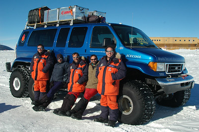 SOUTH POLE STATION, ANTARCTICA: The NGA's (Non-Government Activity - aka tourists/adventurers) were frequent at the pole. This group set a new world record by driving to the South Pole in under 70 hours! More on them at voyageconcepts.co.uk.