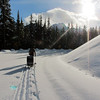 <b>18 Jan 2011</b>  Alex and Chariot head up the Moraine Lake road
