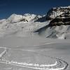 Skiing down to Katherine Lake
