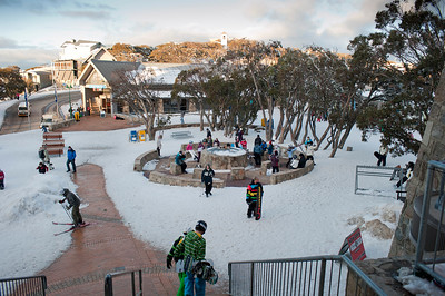 Mt Buller's village square from next to Cattleman's.
