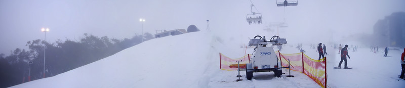 Panorama of the Dew Hut's landing ramp and a diesel generator before it was deployed.