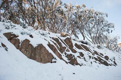 Snow on the rocks