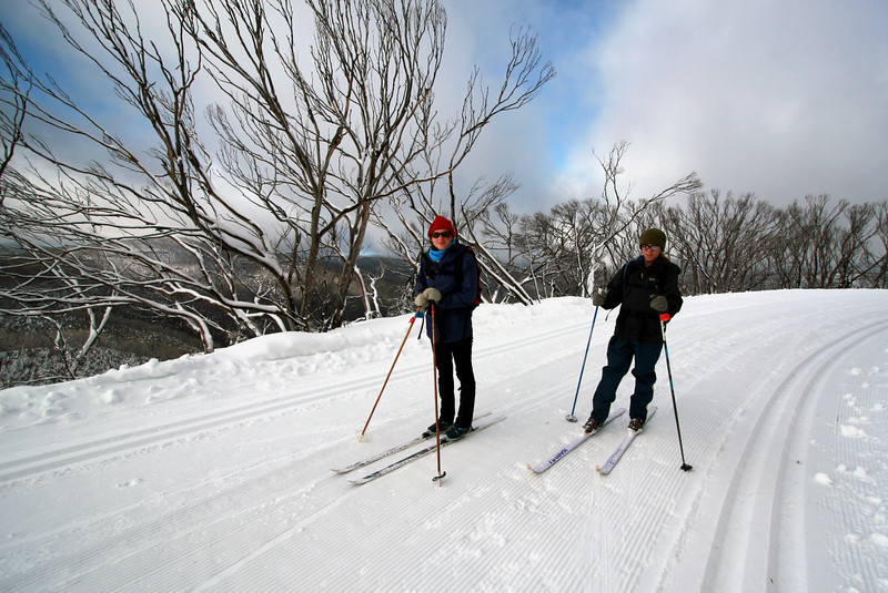 Em and Pete, heading off on untouched cross-country trails in Hotham