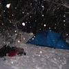 17 July 2004.  Camping behind the hut at Mt Stirling, testing out the new tent.