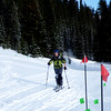 Racing the Sunshine Village 5000 skimo race. I won the woman's citizens class!