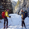 <b>5 Nov 2011</b> Joel and Alex skiing back down from Elbow Lake on next to no snow.