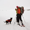 <b>19 Feb 2012</b> Burstall Pass - Lulu with Sarah and Kat, getting up above the treeline