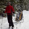 <b>13 Dec 2011</b> Skiing up to Skogan Pass from Nakiska with Chariot