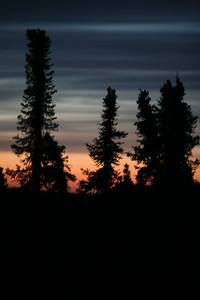 WHITE MOUNTAINS, AK - Post-sunset at Lee's Cabin.