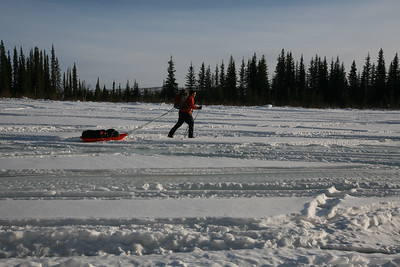 WHITE MOUNTAINS, AK - Right by the Borealis-LeFevre Cabin we have to detour around the overflow water that came up and out of the river ice. Getting that water on our skis would ruin the glide and make for a very long day. Pictured: Joe.