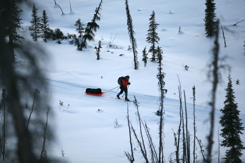 WHITE MOUNTAINS, AK - Day 9 - Nathaniel approaches Caribou Bluff Cabin.