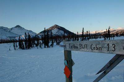 WHITE MOUNTAINS, ALASKA. Caribou Bluff Cabin junction.