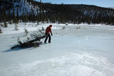 WHITE MOUNTAINS, ALASKA. Hauling firewood across the frozen lake to Windy Gap Cabin
