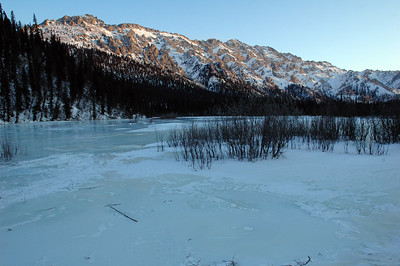 WHITE MOUNTAINS, ALASKA. Windy Gap Cabin Lake.