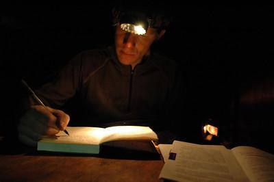 WHITE MOUNTAINS, ALASKA. Cashe Mountain Cabin - Journaling by headlamp
